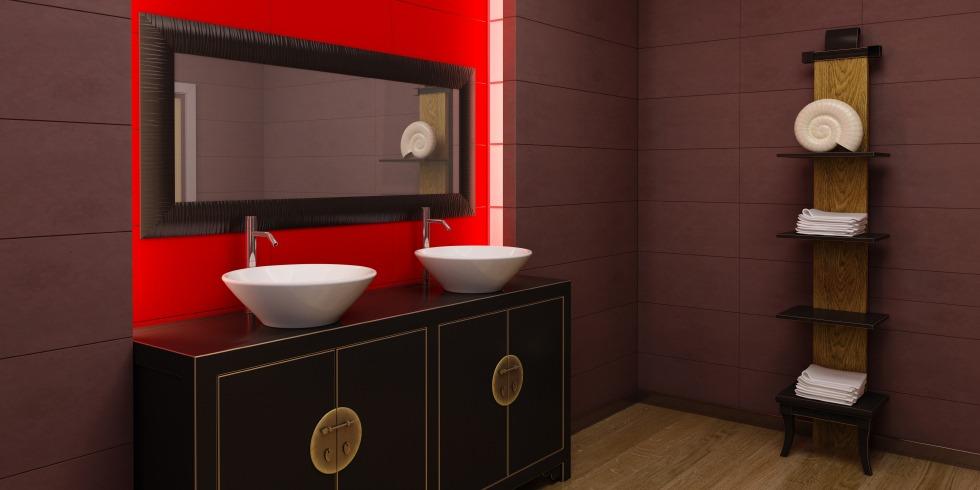 Asian style bathroom interior