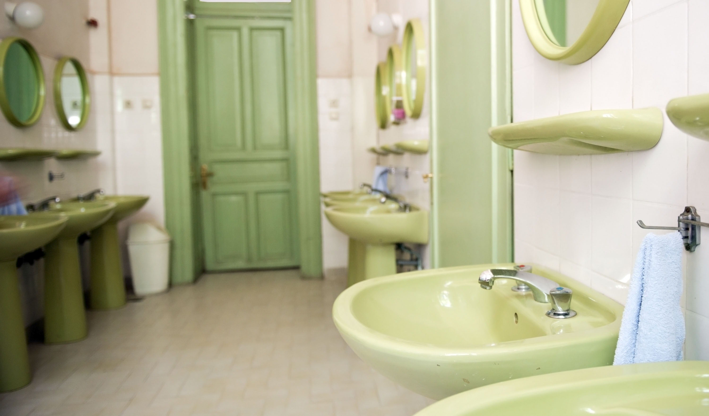 Dating from the 1970s green bathroom
