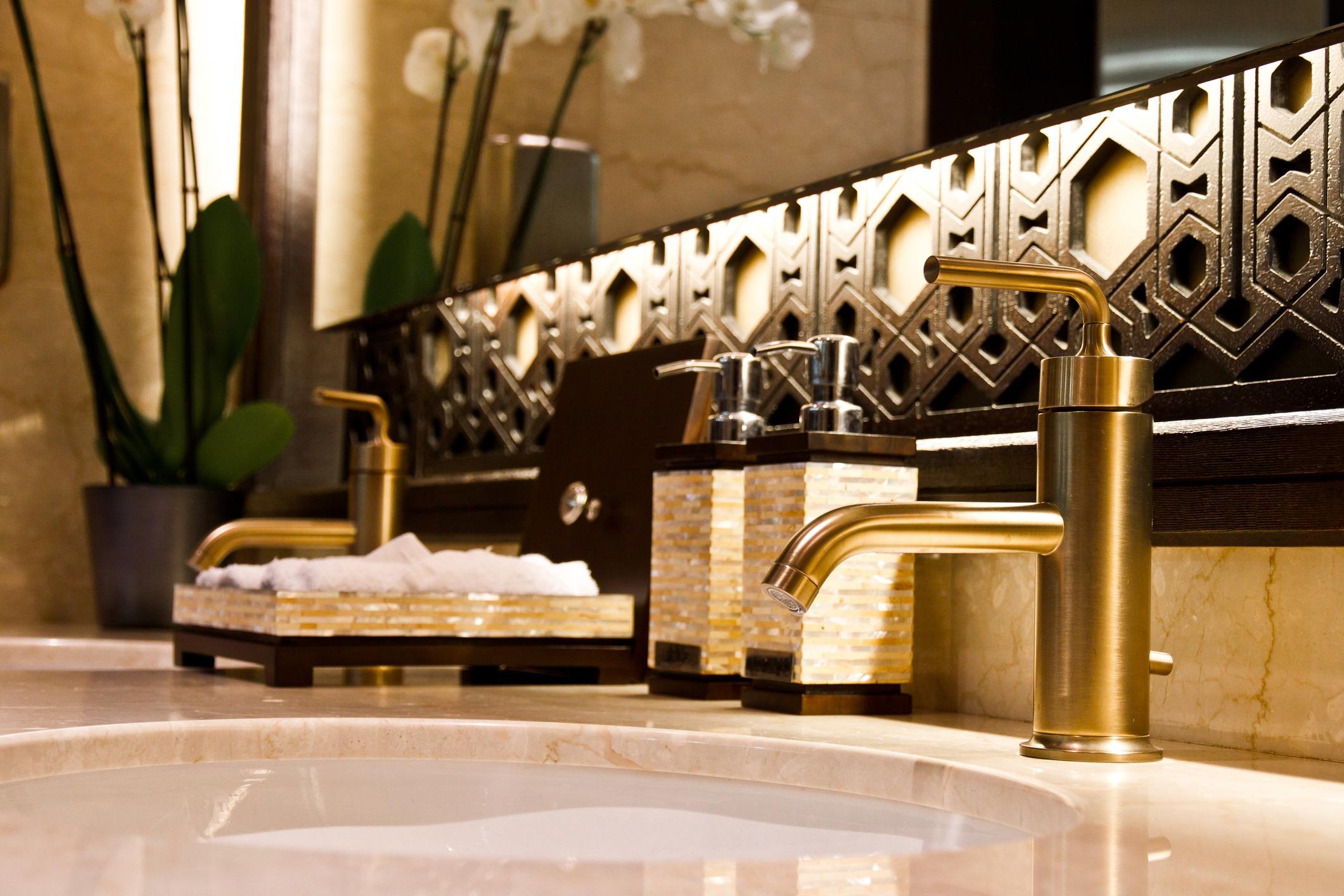 Elegant sinks with marble countertop