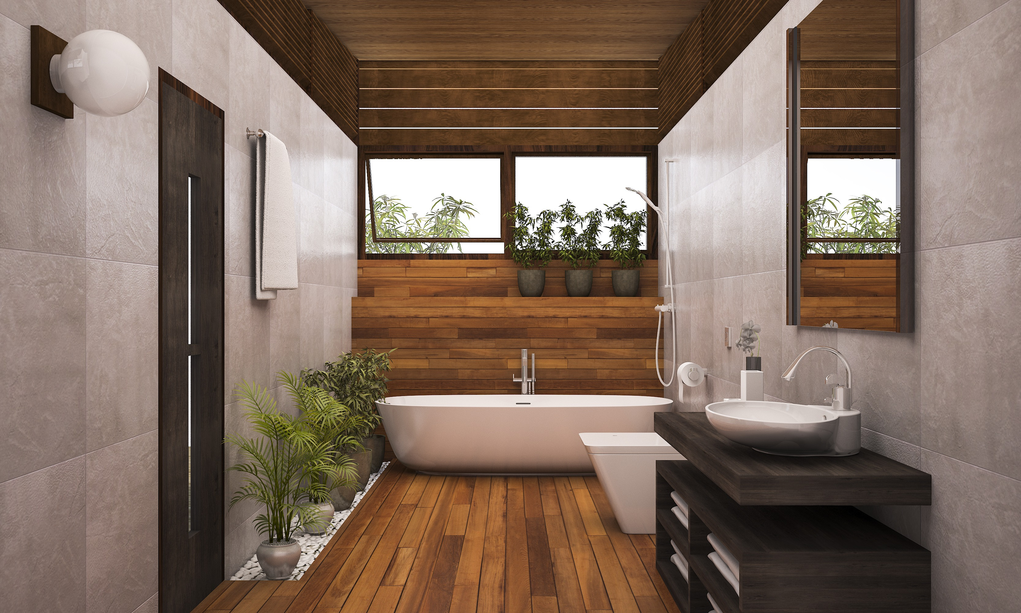 3d rendering contemporary wood bathroom with plants rockform