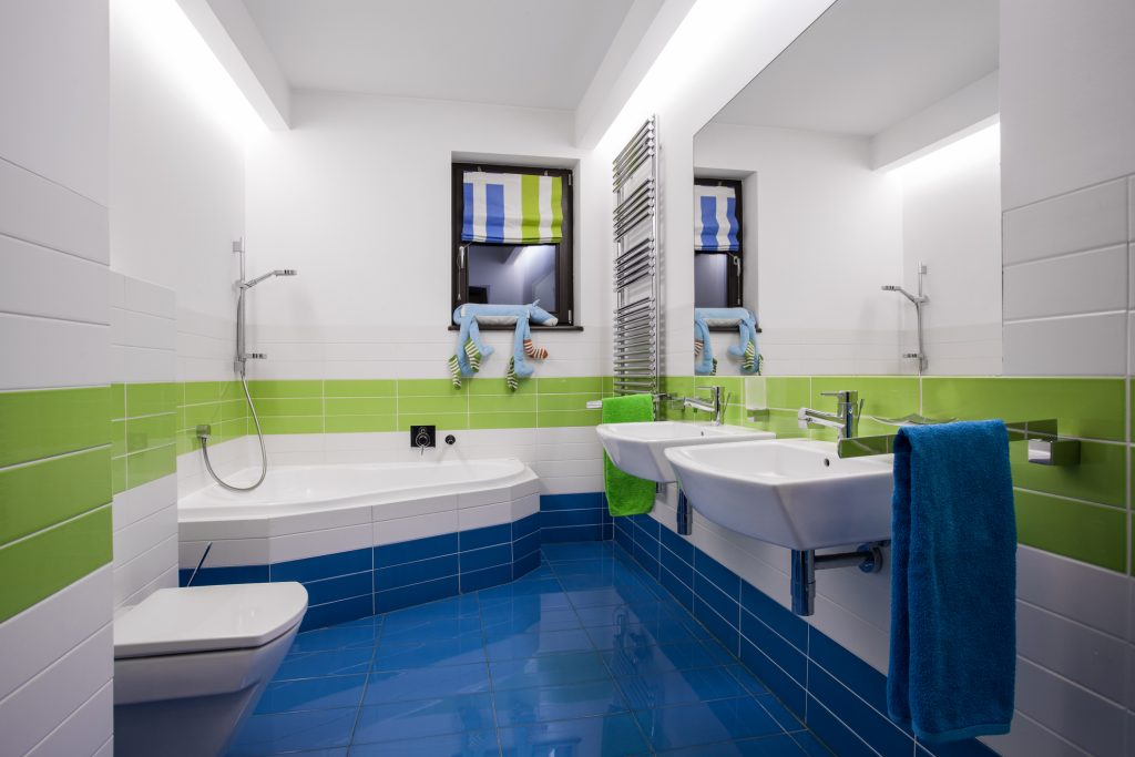 Modern colorful bathroom interior
