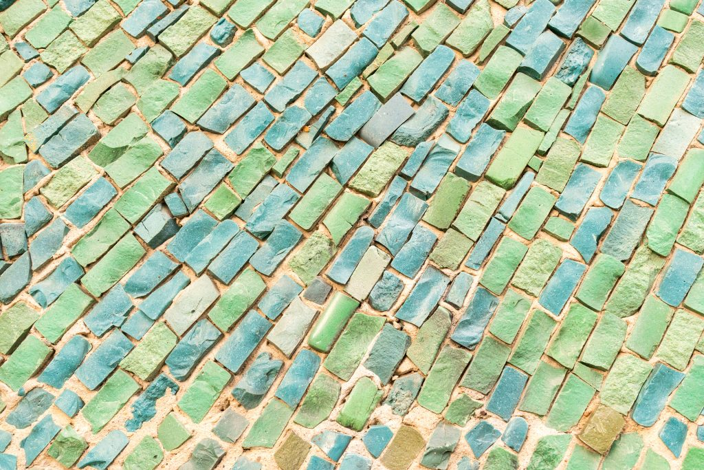 green surface of Abstract colorful smalt mosaic with high resolution for background.