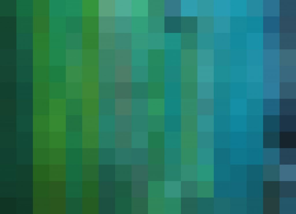 Abstract image of colorful mosaic-like squares, inspired by nature. Primarily shades of green and blue ranging from bright golden-green and turquoise to deep navy and forest green.