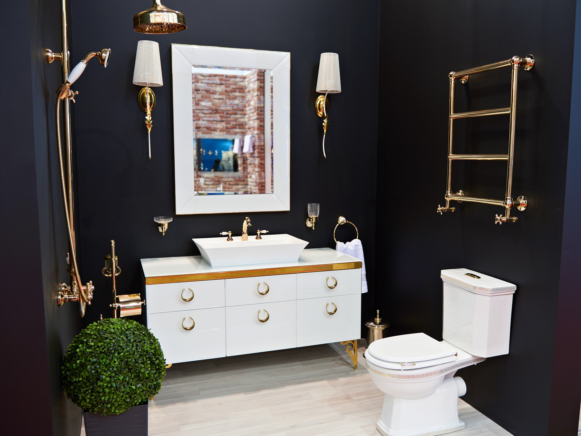 Luxurious washbasin toilet shower and mirror in the bathroom
